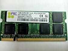 Aeneon AET760SD00-30D RAM 1GB DDR2 667 CL5 PC2-5300S Sodimm Laptop Memory / 133