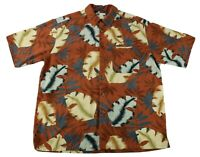Banana Cabana Shirt Button Up Hawaiian Floral Orange Size Large