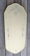Vintage Art Deco Frameless Scalloped Floral Etched Beveled Wall Mirror
