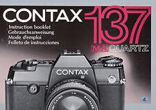 Contax 137 MA Quartz Originale Bedienungsanleitung in 4 Sprachen wie Neu! N.339