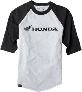Factory Effex Licensed Honda Baseball Shirt Grey/Black Mens All Sizes