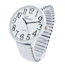 White Super Size Face Easy to Read Stretch Band Women's Watch