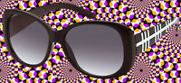 A532✪ Hippie Sonnenbrille 60er 70er Jahre Sixties Kult Hornbrille schwarz weiss