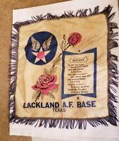 WW2 VINTAGE MOTHER SILK PILLOW COVER Lackland Air Force Base San Antonio, Texas