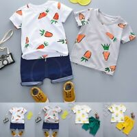 Toddler Kids Baby Boys Cartoon T-shirts Tops+Solid Shorts Outfits Clothes Sets