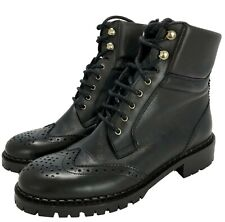 NEW, MASSIMO DUTTI BLACK LACE UP WINGTIP FUR LINED BOOTS, 38, $275