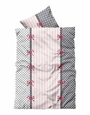 4 tlg Flausch Bettwäsche 155 x 220 cm �œbergrö�Ÿe rosa grau Thermofleece