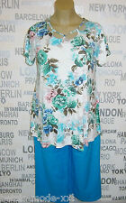 OPHILIA: edles Tunika Shirt Rosen-Druck mehrfarbig, Gr. 6 (52/54) NEU