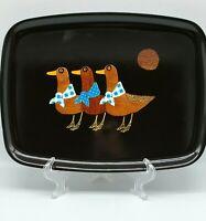 Vintage Couroc California MCM Bird Duck Platter Tray Wood & Brass Inlay 13 X 9.5