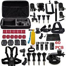 60 pezzi Accessori Set Kit per GoPro Hero 2 3 3+ 4 5 SJCAM Testa Petto Cinghia Pole
