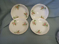 Canonsburg Pottery Rose Bouquet Gold Trim Soup Bowls Lot of 4 Excellent Cond