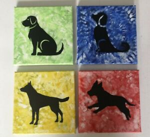 Dog paintings original on canvas X4 puppy acrylic silhouette hand painted R:13