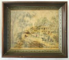 Eastlake Victorian Picture Frame with Currier & Ives Print A Home in Mississippi
