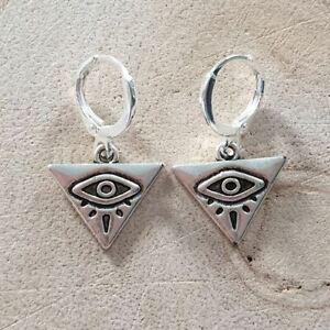 All Seeing Eye Mini Hoop Earrings,Goth,Gothic,Boho,Bohemian,Pretty