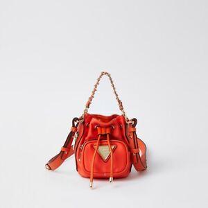 RIVER ISLAND Orange Mini Nylon Duffle Bag - NEW (RRP £32)