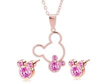 ROSE GOLD PL PINK NECKLACE & EARRING SET MICKEY MINNIE JEWELRY WALT DISNEY WORLD