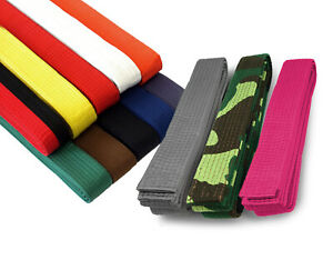 "NEW Martial Arts 1.5"" Wide Karate Taekwondo Judo Double Wrap Solid Color Belts"