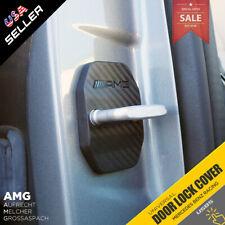 2X Carbon Fiber Texture Door Striker Cover Lock Buckle Cap For Mercedes-Benz AMG