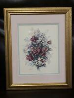 """Vintage HOME INTERIORS Print Floral Signed Jan Anderson Framed 16"""" x 13"""""""