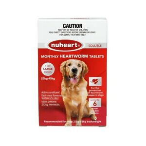 NUHEART Red Meat Flavoured Heartworm Tablets for Large Dogs X6  23kg - 45kg