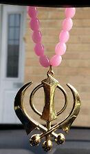 Gold Plated Punjabi Sikh Large Khanda Pendant Car Hanging in Baby Pink Beads