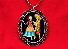 SUGAR SKULL COUPLE DAY OF THE DEAD TATTOO NECKLACE