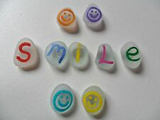 Smile with smilies - Set of 9 Hand painted sea glass fridge magnets
