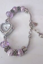 Ladies quartz heart European charm bracelet watch choice of 9 colours