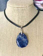 Natural Gemstone Sodalite Huge Glossy Pendant Necklace USA