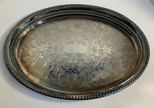 """Vintage WM Rogers Oval Silverplate Reticulated Gallery Tray 16""""X11.75""""Beautiful"""
