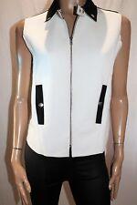 Rose Bullet Black White Textured Zip Front Sleeveless Jacket Size 10 BNWT #JA13