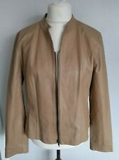IMAGES - Beige REAL LEATHER Jacket Soft Size 18 - BEAUTIFUL