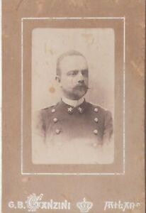 foto photo albumina cabinet card  militare regio esercito by G. B. Ganzini 1880