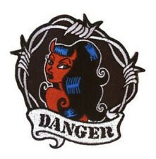 "Evilkid Dangerous Devilgirl Ringed Barbed Wire 3""x3.5"" Quality Embroidered PATCH"