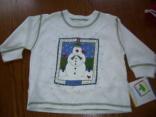NWT MULBERRIBUSH S is for SNOWMAN WINTER SHIRT 12 MO