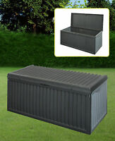 Black Plastic Garden Storage Box With Lid Garden Patio Cushion Storage Box
