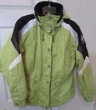 Marker Ladies Hooded Ski Jacket Parka Size 8 Neon Green Tons of Pockets EUC