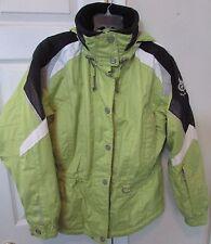 Marker Ladies Hooded Ski Jacket Parka Size 8 Neon Green Tons of Pockets EUC