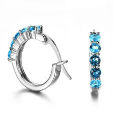 Party Jewelry Round Titanic Ocean Blue Topaz  Gems Silver Stud Hook Earrings