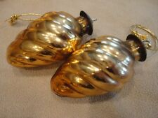Christmas Ornament (3) Krugel Gold Spiral Sphere Midwest