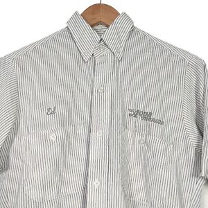 Vintage Red Kap Work Shirt White Striped Button Shirt Aqua Marine - Mens Small