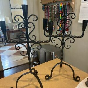 Antique Wrought Iron Candelabra Candlesticks