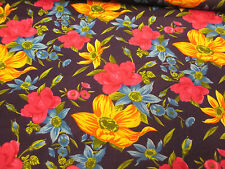 Navy, Pink & Yellow Floral Polycotton Fabric Price Per Metre