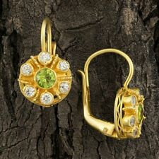 Cluster Peridot and Cubic Zirconia Earrings: Museum of Jewelry