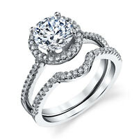925 Sterling Silver CZ Engagement Wedding Ring Set Cubic Zirconia Solitare