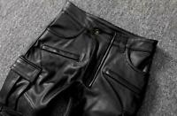Mens Real Cowhide Quilted Leather pants Skin Fit Pants biker style Cargo Pocket