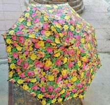 Yellow Multi Color Floral Design Hand Held Umbrella Snap Closure
