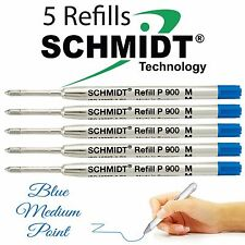 5 Schmidt P900 Medium Point Refill To Fit Parker Style Pens- Blue Ink