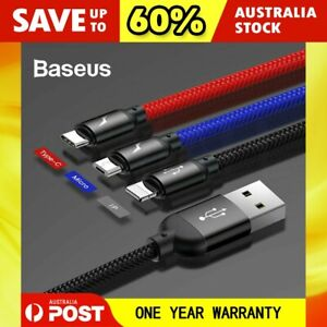 New Baseus 3-in-1 Charging & Data Sync Cable Cord for Apple + Type-C + Micro USB
