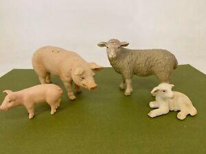 Schleich -Farm Animals Lot #2 -Sheep, Lambs, Pig & Piglet- Toy Figure / Figurine